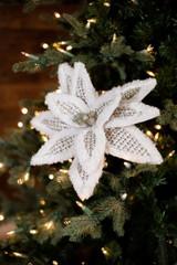Furry Edge Woven Poinsettia Cream Christmas Tree Flower