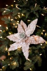 Cream and Platinum Glitter Christmas Tree Flower Poinsettia