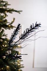 "30"" Midnight Blue Glitter Pine Spray"
