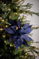 Midnight Blue Velvet Poinsettia Christmas Tree Flower Stem