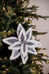 Grey Woven Poinsettia Christmas Tree Flower with Snow Edge