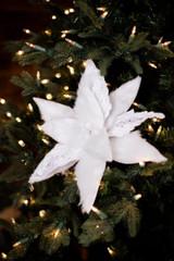 White Velvet Faux Fur Poinsettia Christmas Flower Stem
