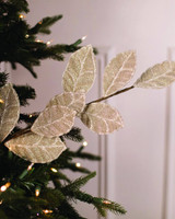 Platinum Beaded Magnolia Leaf Spray