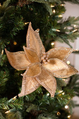 Champagne Bedazzled Edge Poinsettia Christmas Tree Flower