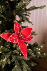 Felt Peppermint Stitch Poinsettia Stem Christmas Tree Flower