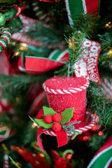 Red and White Frosted Top Hat Ornament