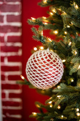 Large Red and White Glitter Ball Christmas Tree Ornaments