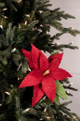 Frosted Felt Retro Poinsettia Stem Christmas Tree Flower