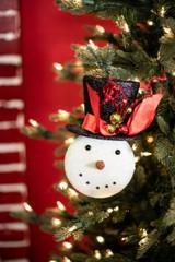 """9"""" Glitter Snowman Black Hat Ornament"""