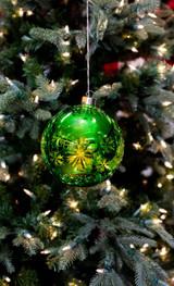 Large Glass Light Up Green Ball