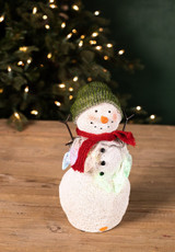 Resin Light Up Snowman with String Lights