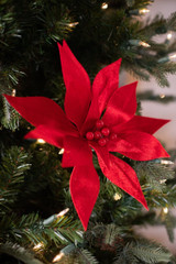 Red Velvet Pearl Center Poinsettia Stem Christmas Tree Flower