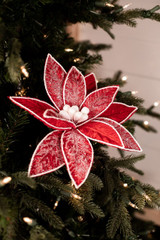 Red Frosted Poinsettia Stem Christmas Tree Flower