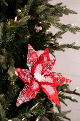 Plaid Frosted Snowflake Velvet Poinsettia Stem Christmas Tree Flower