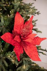 Giant Glitter Red Poinsettia Stem Christmas Tree Flower