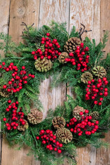 Cedar Pinecone and Red Berry Wreath