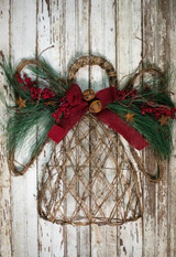 """20"""" Faux Floral Holiday Angel - Burgundy Bow"""