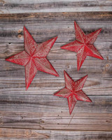 Red Rustic Stars - Set of 3