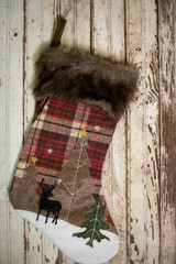 """20"""" Plaid Deer Stocking with Faux Fur Cuff"""