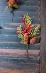 Red Berry Hemlock Cone Pick