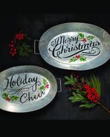 Galvanized Christmas Holiday Cheer Trays - Set of 2