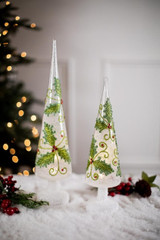 Glass Light Up Holly Trees - Set of 2