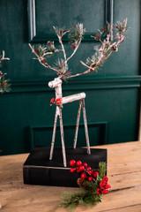 Metal Pinecone Reindeer Figurine