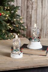 Transparent Light Up Candles on Base - Set of 2