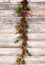 "48"" Berry Hard Needle Pine Leaf Garland"
