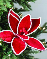 Velvet Natural Trim Edge Poinsettia Stem Christmas Tree Flower