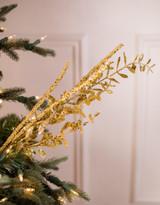 Gold Glitter Boxwood Berry Spray