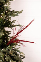 Glitter Triple Spike Grass Christmas Tree Spray - Red