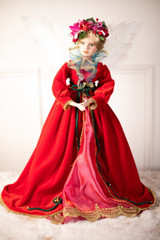 """24"""" Red Motion Musical Angel With Fiber Optic Wings"""