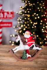 Traditional Santa on Rocking Horse Christmas Decor