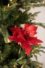 Metallic Glitter Edge Poinsettia Stem Christmas Tree Flower
