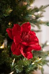 Glitter Edge Deluxe Velvet Magnolia Stem Christmas Tree Flower