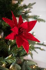 Velvet Glitter Edge Jewel Poinsettia Stem Christmas Tree Flower