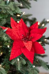 Velvet Jewel Center Red Poinsettia Stem Christmas Tree Flower