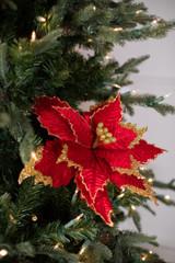 """28"""" Deluxe Velvet Sequin Edge Red Poinsettia Flower Stem"""