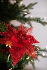 Glitter Velvet Sheer Poinsettia Stem Christmas Tree Flower - Red