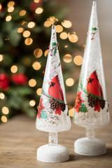 Glass Light Up Cardinal Tree - Set of 2