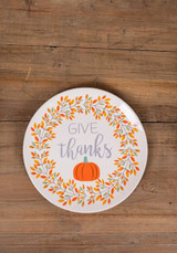 Give Thanks Pumpkin Platter Ceramic Fall Greeting Plate