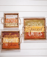 Wood Fall Greeting Serving Tray Décor