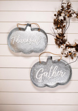 """""""Thankful"""" and """"Gather"""" Galvanized Metal Fall Décor"""