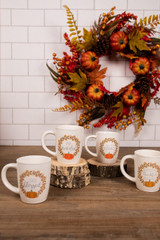 Assorted Ceramic Fall Greeting Coffee Mugs