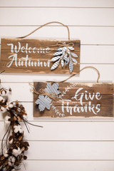 """""""Welcome Autumn"""" and """"Give Thanks"""" Wood Wall Décor"""