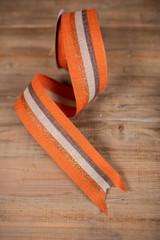 """2.5"""" x 10 Yard Linen Glitter Stripe Fall Ribbon"""