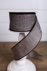 Brown and White Linen Weave Christmas Ribbon