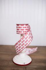 "2.5"" x 10 Yard Red and White Satin Glitter Lattice Christmas Ribbon"