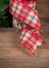 "2.5"" x 10 Yard Wool Check Plaid Christmas Ribbon - Red, Green and White"